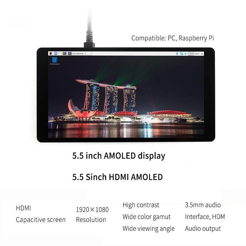 2 pièces framboise Pi LCD AMOLED 5.5 pouces 1080 P 5 pouces HDMI capacitif 1920*1080 Module d'écran tactile pour Raspberry Pi 3B + 2B +