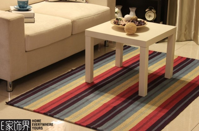 100 Cotton Environmental Bedroom Rug Rainbow Color Table Mat Living Room Blanket
