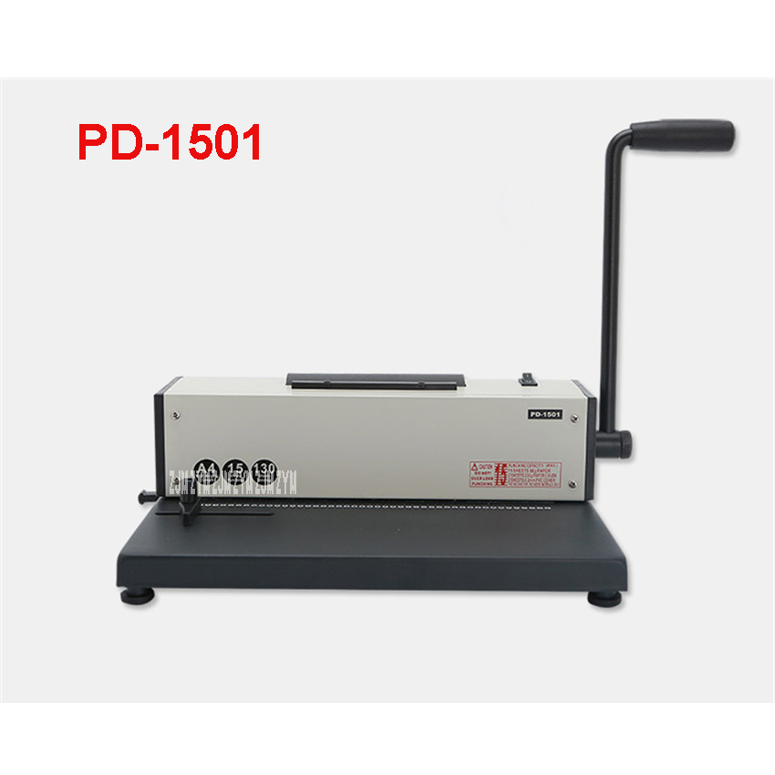 PD-1501 Wire Binding Machine Single Coil Manual Paper Punch Machine Electric Binding 46 Holes Metal Structure Office Machine t30 paper drilling machine manual hand hole punch paper machine single hole thickness 35mm manual single hole drilling machine