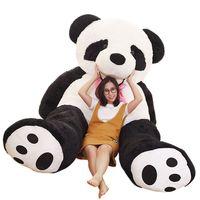 Dorimytrader JUMBO cuddly cartoon smiling panda plush toy huge stuffed anime pandas doll sofa tatami gift decoration 260cm 160cm