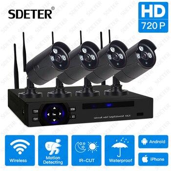 SDETER Беспроводной видеонаблюдения Системы 4CH 720 P NVR комплект видеонаблюдения Системы ИК Ночное видение наружного видеонаблюдения WI-FI IP Security ...
