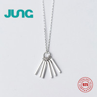 JUNG 2017 NEW Trendy Simple Charm Cute Sweet 925 Sterling Silver Tassels Stick Pendant Necklace Jewelry