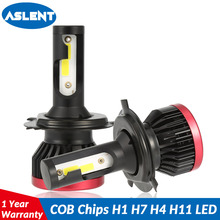 Aslent 2PCs Mini led H7 H4 LED Bulb Car Headlight H11 H1 H8 H9 H3 9005/HB3 9006/HB4 100W 20000LM 6500K Auto Headlamp Fog Light