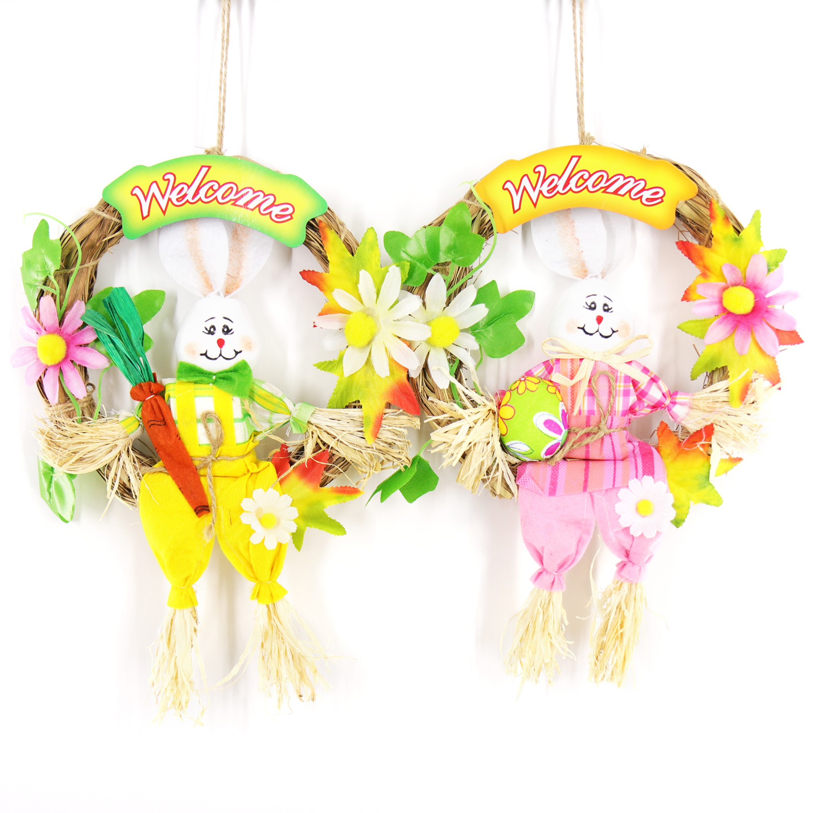 Beads Toys  Straw Cute Easter Rabbit Easter Rabbit With Carrot Wreath Garland Party Door Decoration Easter  Crafts For Kids