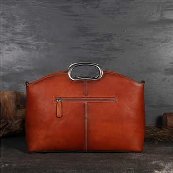 Nesitu Vintage Fashion Green Grey Brown A4 Genuine Leather Women Handbags Tote Messenger Bags Female Shoulder Bag M1157