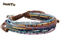 2016 wholesale blue purple mixed seed beads nylon wrap bracelet