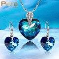 Романтический Стерлингового Серебра 925 Большой Форме Сердца Падения Голубой Кристалл Камень Ожерелье И Серьги Наборы Для Женщин J188
