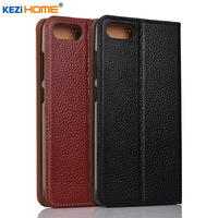 Case For ASUS Zenfone 4 Max Plus X015D Case KEZiHOME Litchi Genuine Leather Flip Stand Leather