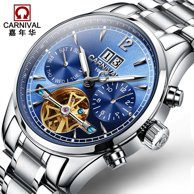 Relogio Masculino Carnical Mens Watches Top Brand Luxury Tourbillon Automatic Machinery Watch Men Skeleton Leather Wristwatch watches men luxury brand carnical automatic mechanical watch waterproof perpetual calendar leather wristwatch relogio masculino