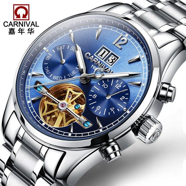 6f024b9e1b4 Relogio masculino Carnical Mens Relógios Top Marca De Luxo Turbilhão  Máquinas Automáticas Homens Relógio Esqueleto relógio