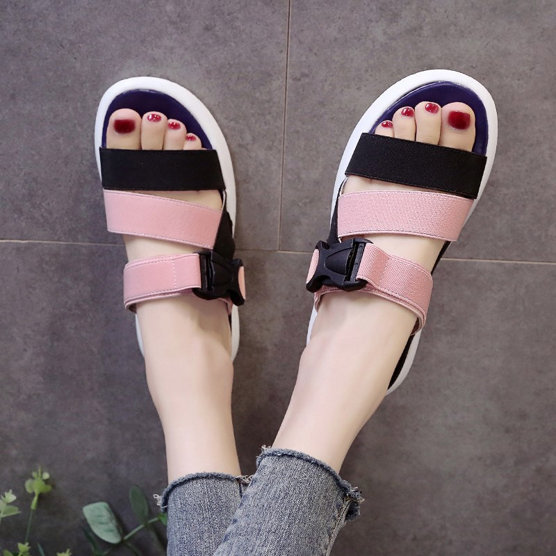 Women Summer Sandals Shoes Stretch Fabric Peep-toe Shoes Woman Roman Sandals Ladies Slippers Female Beach Flat Sandalia Feminina