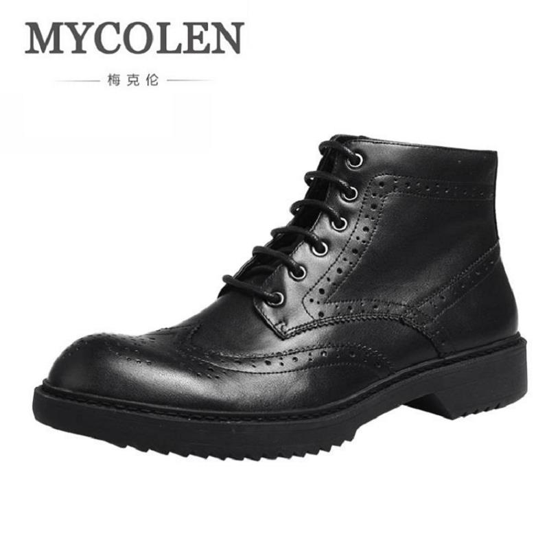 MYCOLEN Men Martin Boots Mens Handmade High Quality Brand Winter Ankle Boots Footwear Lace-Up Leather Shoes Men Bottes Homme top new men boots fashion casual high shoes cowboy style high quality lace up classic leather ankle brand design season winter