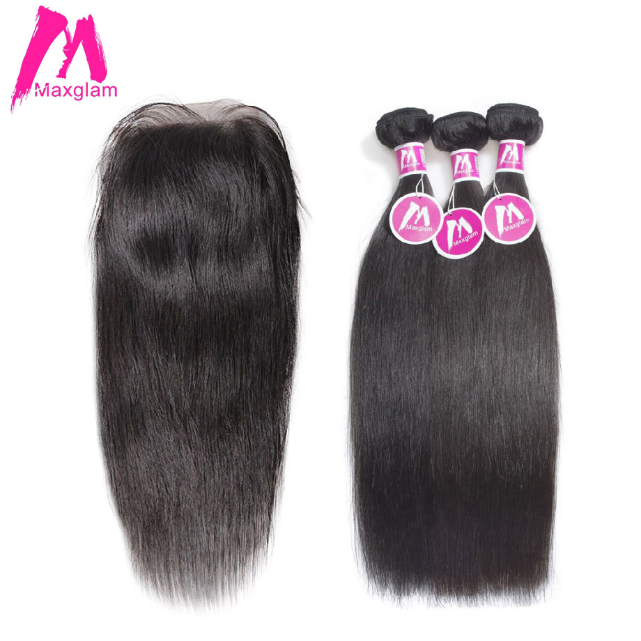 Maxglam Malaysian Human Hair Bundles with Closure Straight 3 Hair Bundles with Closure Remy Hair Extension