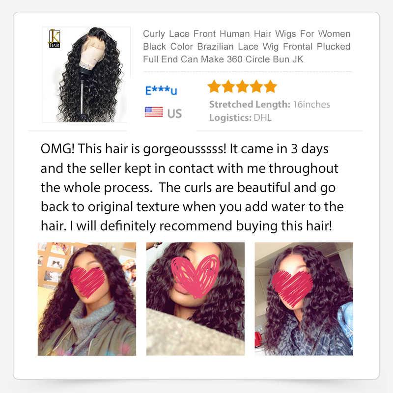 Кудрявые Парики из натуральных волос на фронте шнурка для женщин черный цвет парик бразильский на сшивке фронтальный сорвал полный конец может сделать 360 круг булочка JK