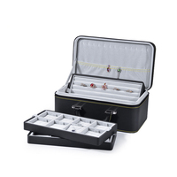 Ring Jewelry Display Shelf Necklace Pendant Box Suitcase with Crate Box Top Grade Jewelry Display Storage Organizer Holder Case