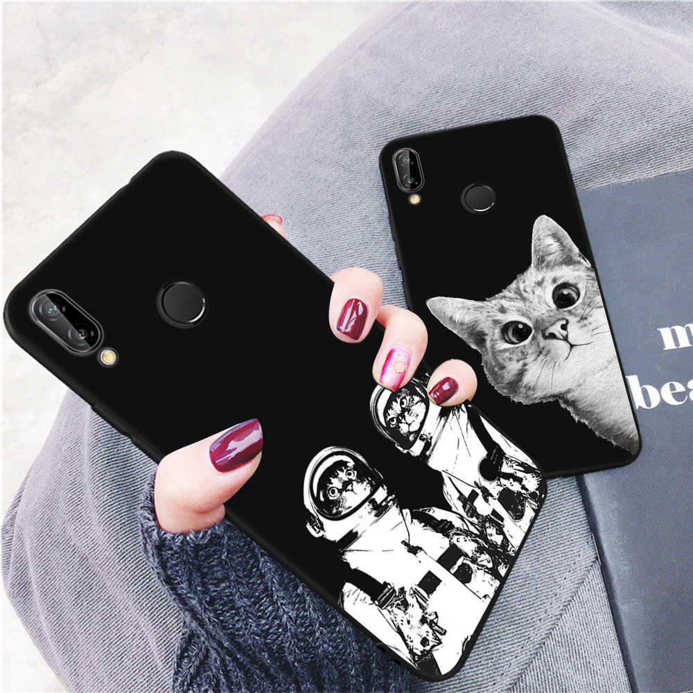 Cartoon Cat Black Pattern Case For Huawei P20 Lite Pro Mate 10 P10 Lite Y9 2018 P8 P9 Lite 2017 For Honor 8 Lite TPU Cover Cases