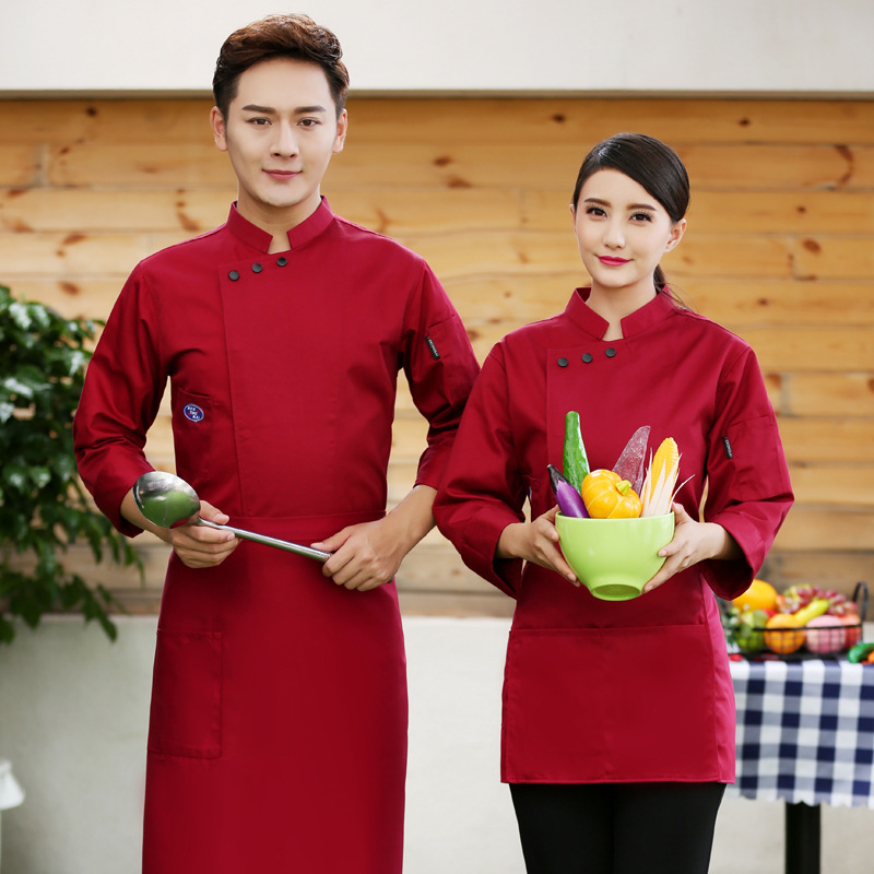Male And Female Models Fall And Winter Clothes Chef Uniforms Hotel Restaurant Dining Long-sleeved Jacket West