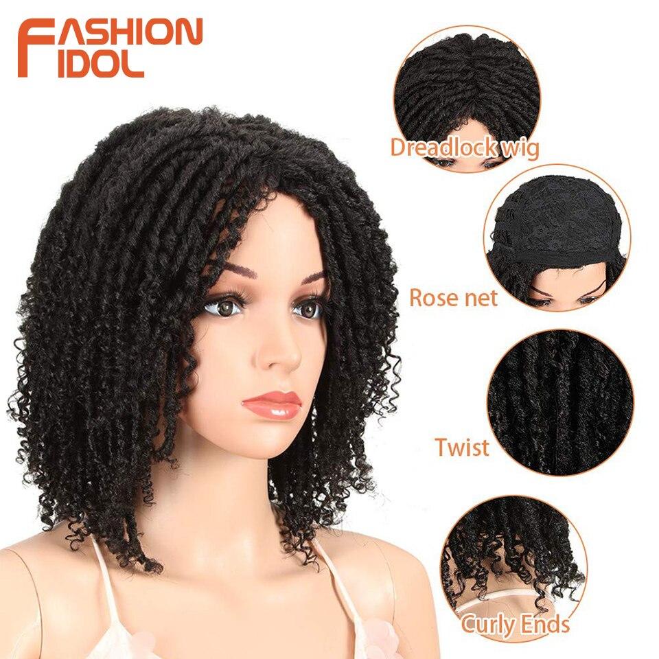 FASHION IDOL Soft Short Synthetic Wigs For Black Women 14 inch High Temperature Fiber Dreadlock Ombre Burg Crochet Twist Hair 6