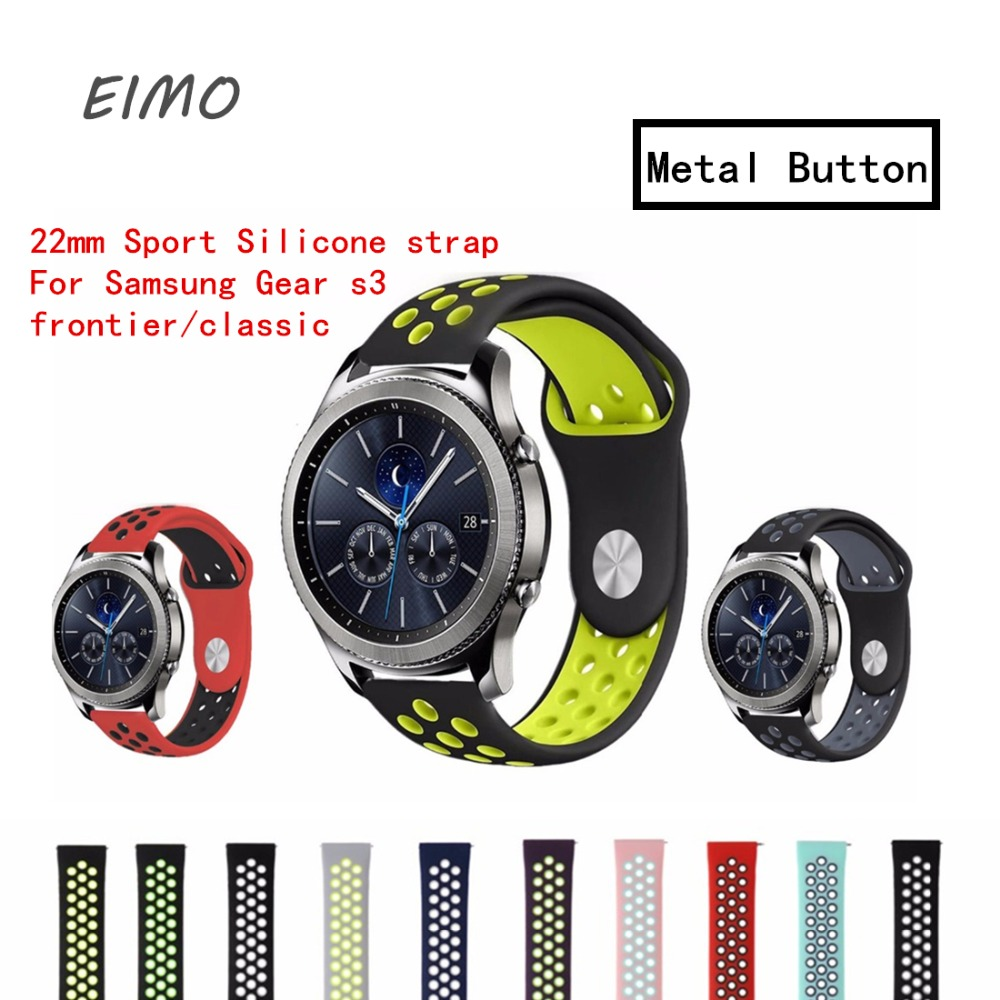 EIMO 22mm Sport Silicone strap For Samsung Gear s3 frontier/classic band smart watch rubber Bracelet replacement watchband so buy silicone watchband for samsung gear s3 classic frontier 22mm silica gel watch band s 3 sport strap replacement bracelet