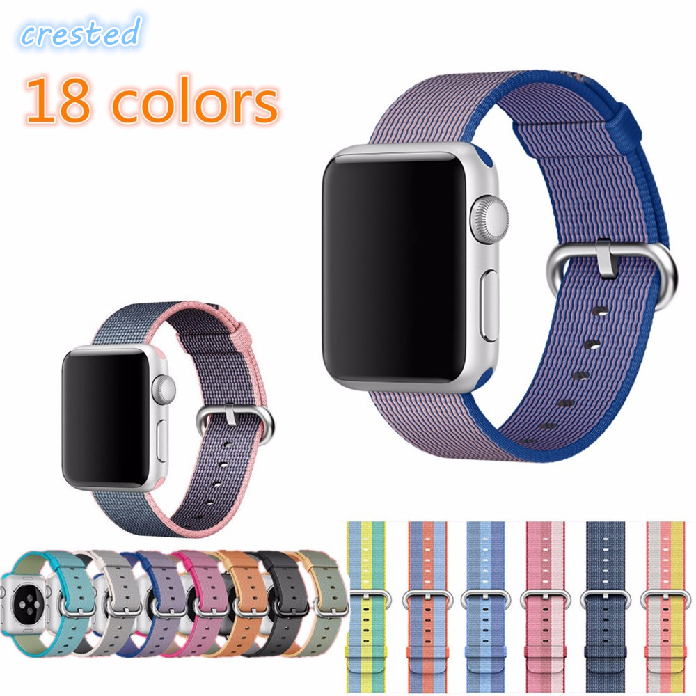 CRESTED Sport woven nylon band for apple watch 42mm 38mm iwatch 3 2 1 wrist watch band braclet belt fabric-like nylon watchband band for apple watch pink stripes woven nylon fabric buckle watchband 38mm 42mm sport strap for iwatch 2 watches accessories