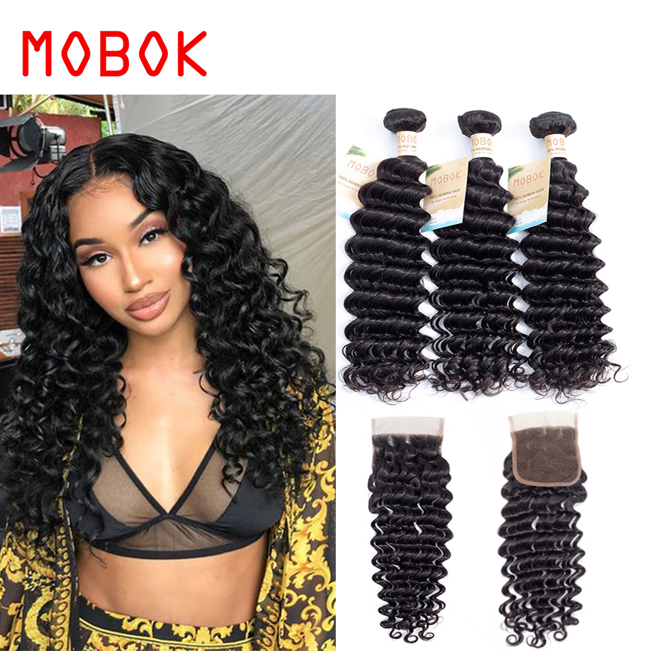 Just Wome #27 Mongolian Deep Wave Hair 3 Bundles Honey Blonde Color Human Hair With Closure Non Remy Curly Hair Extensions Hair Extensions & Wigs 3/4 Bundles With Closure