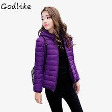 GODLIKE  Ladies fashion casual pure down jacket/Thin body/2018 ladies fashion and slim down jacket