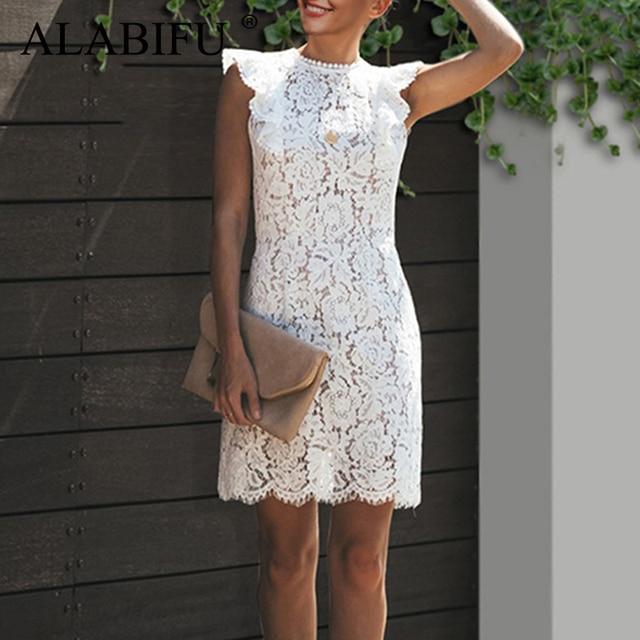ALABIFU Summer Dress Women 2019 Sexy Ruffles Sleeve Lace Dress Elegant Casual Patchwork Beach Party Dress White vestidos ukraine