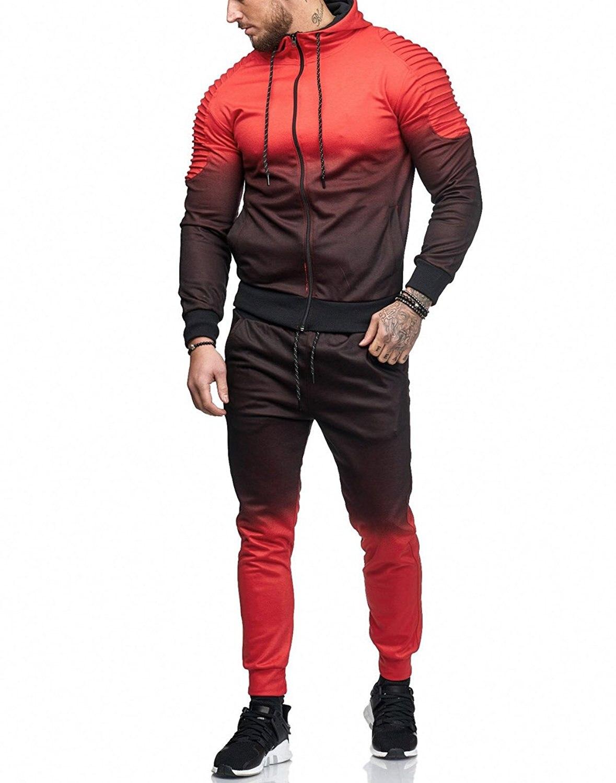 Loldeal мужской градиент в полоску в европейском и американском стиле Спортивный костюм Для мужчин спортивные свитшоты на молнии + Брюки повсе...