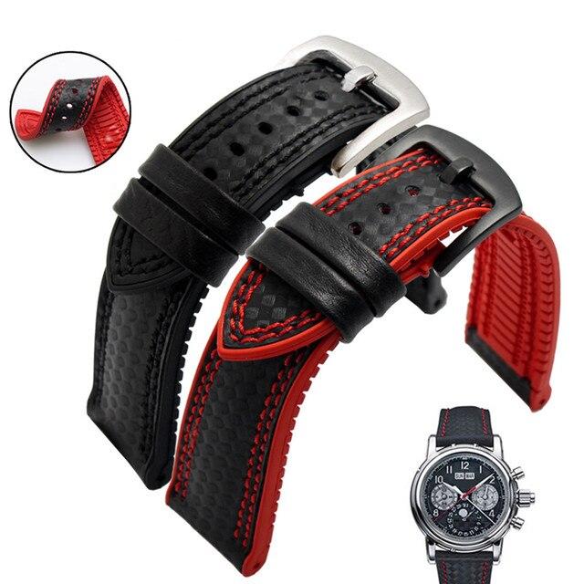 Bracelet de montre en Fiber de carbone Bracelet de montre 18mm 20mm 22mm 24mm pour Bracelet de montre en caoutchouc Omega, accessoire étanche