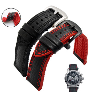 Image 1 - Carbon Fiber Silicone Watch Band 18mm 20mm 22mm 24mm WatchStrap Watchband for Omega Rubber Bracelet Accessory Waterproof Belt