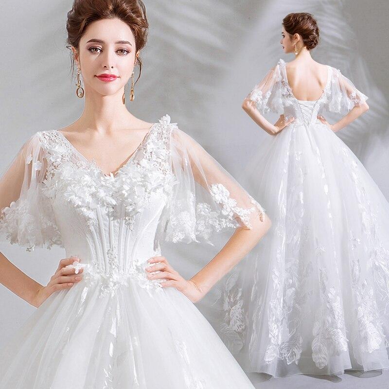 Simple White Wedding Gown: Backlakegirls Elegant Ball Gown V Neck Wedding Dress