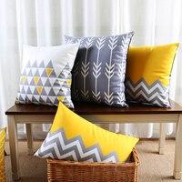 Großhandel Weichen Samt Kissenbezug Gelb Grau Ikat Geometrische Pfeil Triangle Hause Dekorative Kissenbezug 45x45 cm/30x50 cm