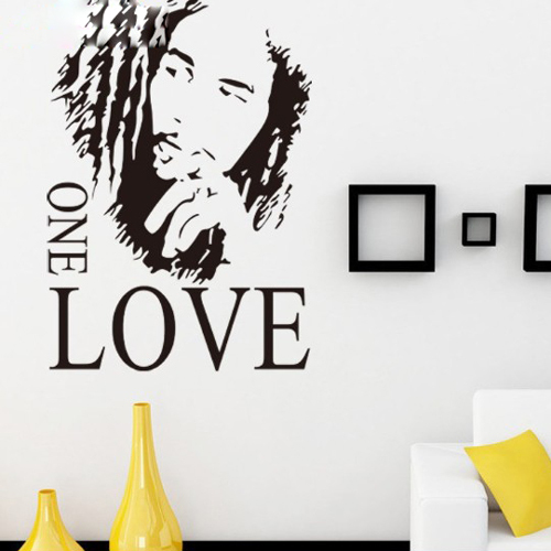 """Free Shipping 16.9"""" x 24.0""""Motto BOB MARLEY ONE LOVE DIY Removable Art Vinyl Quote Wall Sticker Decal Mural Home decoration"""