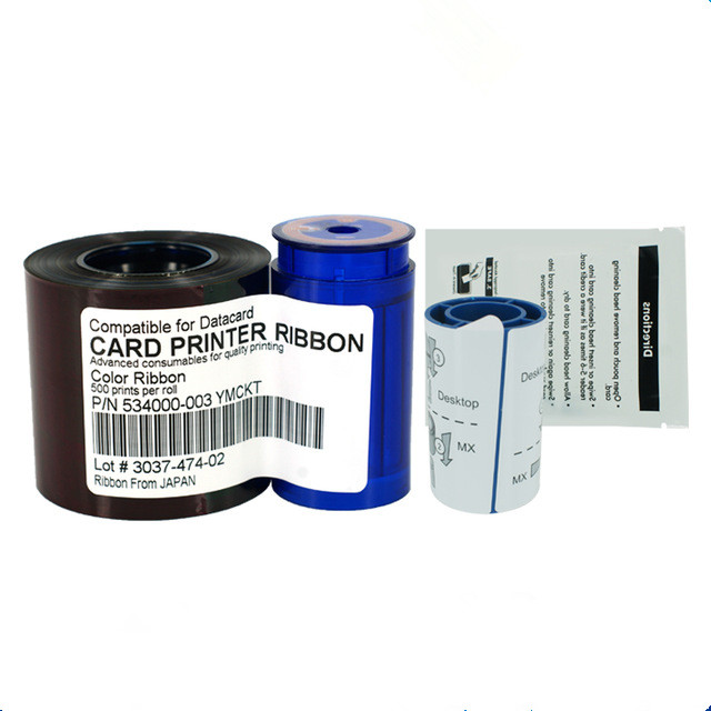 Compatible Datacard 535000-003 YMCKT Color Ribbon & Cleaning Kit - 500 images per roll for CP40 CP60 CP80 CD800 card printers