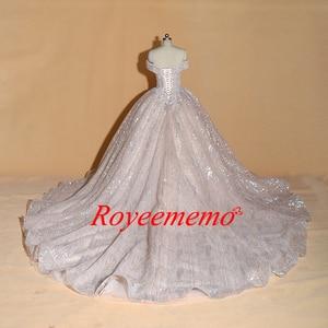 Image 4 - Vestido de Noiva off shoulder wedding dress Vintage Robe De Mariage special lace design shiny luxurious wedding dress factory