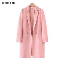 2019 Spring Pink Long Blazer Women Notched Double Breasted Long Sleeve Office Suit Outwear Female Coat Jacket Blazer Feminino blazer feminino stripe slim fit women long sleeve spring autumn office lady blazer mujer 2019 women outwear hjj801930