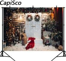 Capisco fotografia pano de fundo árvore de Natal coroa de flores decoração da casa De Madeira fundo photo studio novo design câmera fotografica