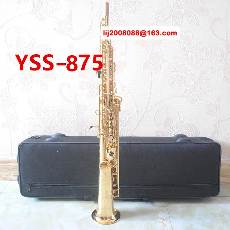 YSS-875 Japan Soprano Saxophone B flat Electrophoresis Gold Top Musical Instruments Sax Soprano professional grade new soprano saxophone yss 475 b flat electrophoresis gold top musical instruments sax soprano professional grade free shipping