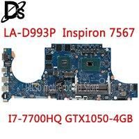 Kefu LA-D993P placa-mãe para dell inspiron 15 7567 placa-mãe I7-7700HQ gtx1050 4 gb bbv00/10 LA-D993P CN-0JG23N teste 100%