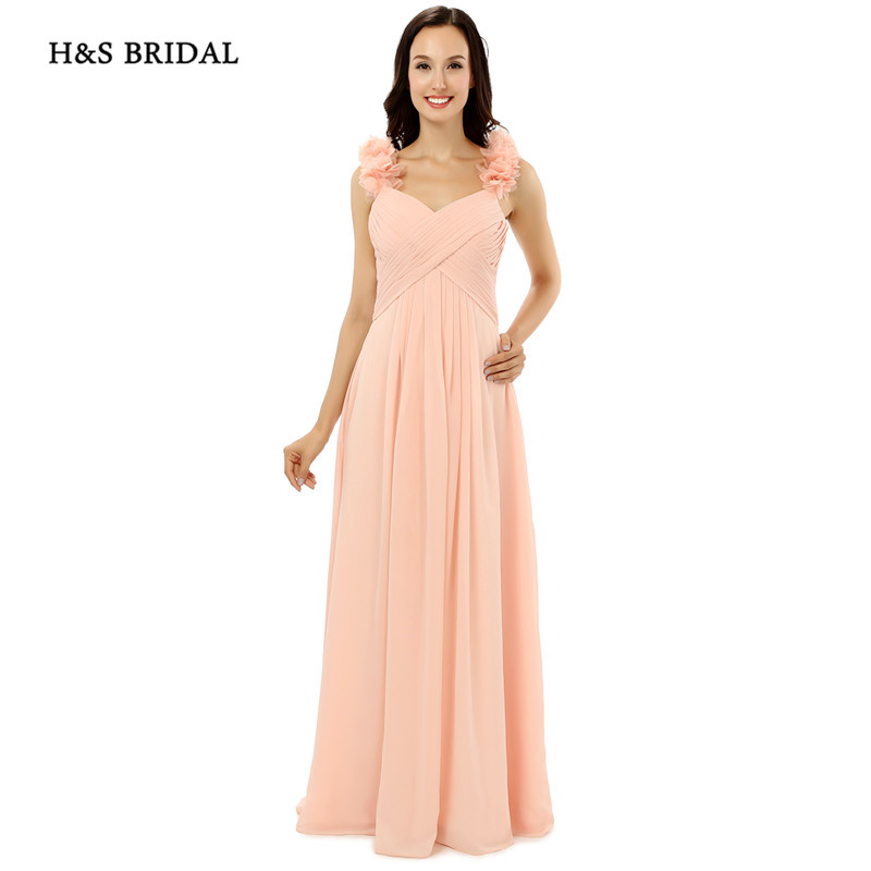 H&S BRIDAL Pink Flower Shoulders Formal Women Party Dresses Cheap Bridesmaid Dresses