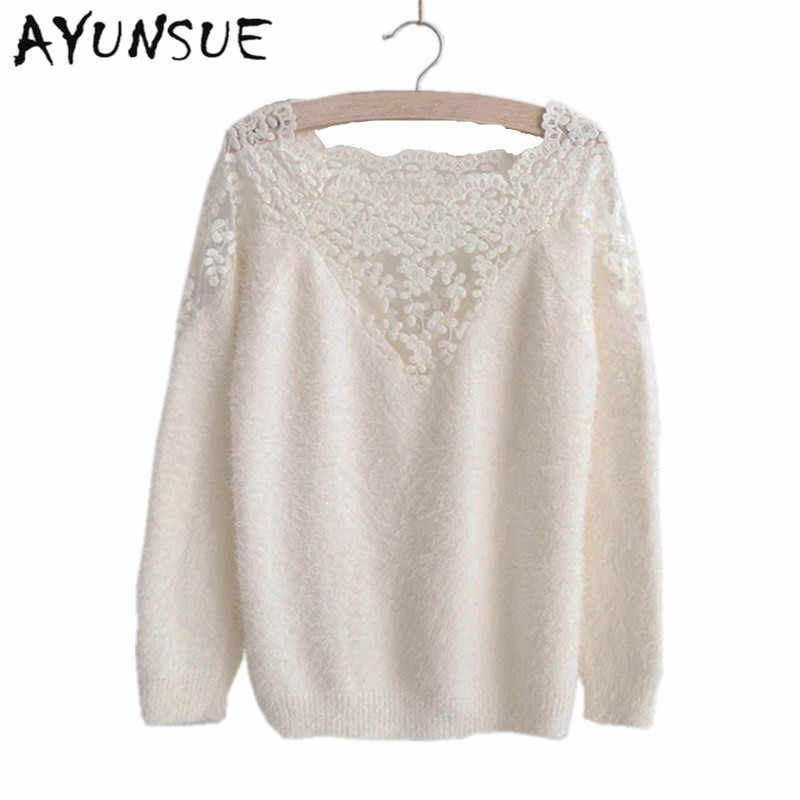 Women casual lace patchwork mohair knitted pullover 2019 new spring autumn soft long sleeve white/black sweater pullovers S2706