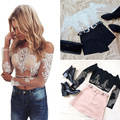 2016 Fashion Summer Boho Lace Off Shoulder Crop Tank Tops Women Sexy Perspective Tops Blouses Cardigan Loose Comfortable Blouse