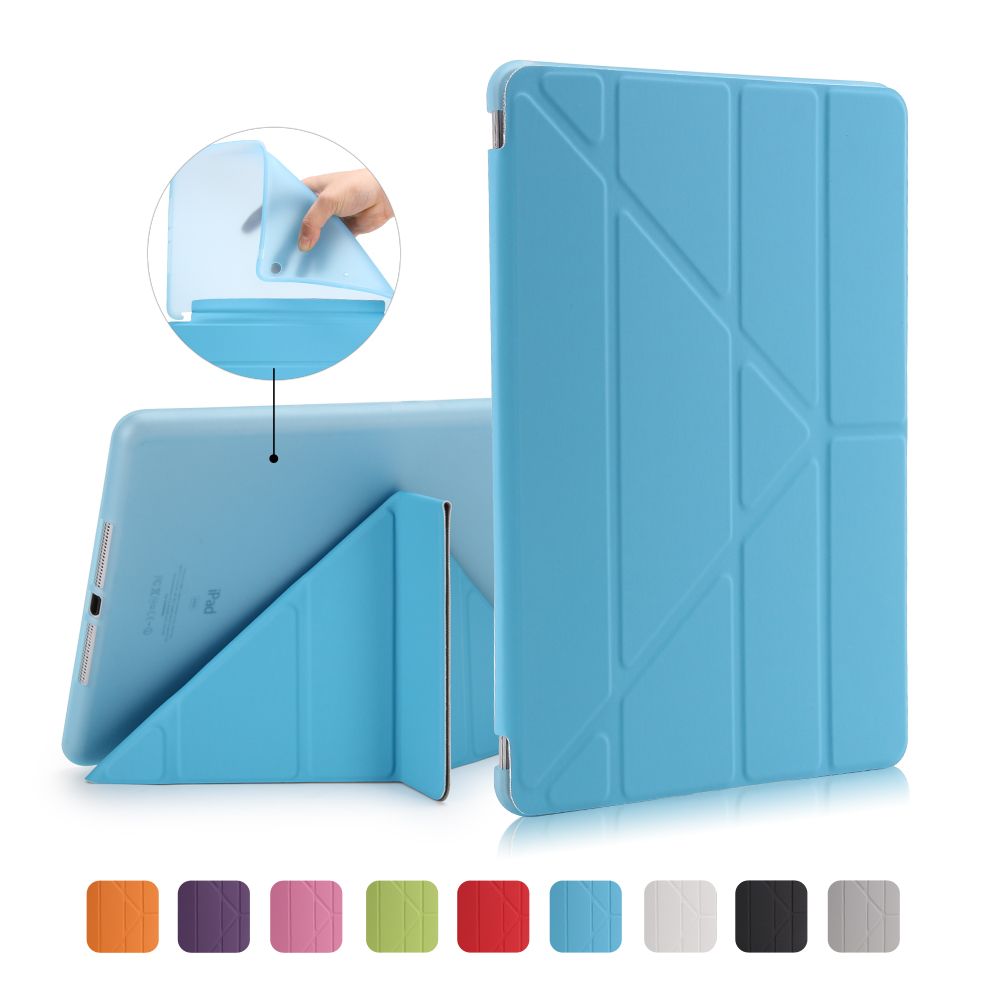 For Apple Ipad Air 1 Smart Cover Case Magnetic Wake Up /Sleep Multi Fold PU Leather Cover For Ipad 5 Soft TPU Back Case