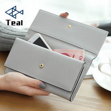 Women's Wallet Women Purse Leather Gray Long Passport Cover Bolsa Feminina Purse For Ladies Coin Purse Card Holder(China)