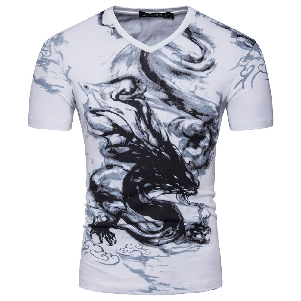 2017 font b Men b font Short Sleeve V Neck Designer Chinese Painting Style Casual T