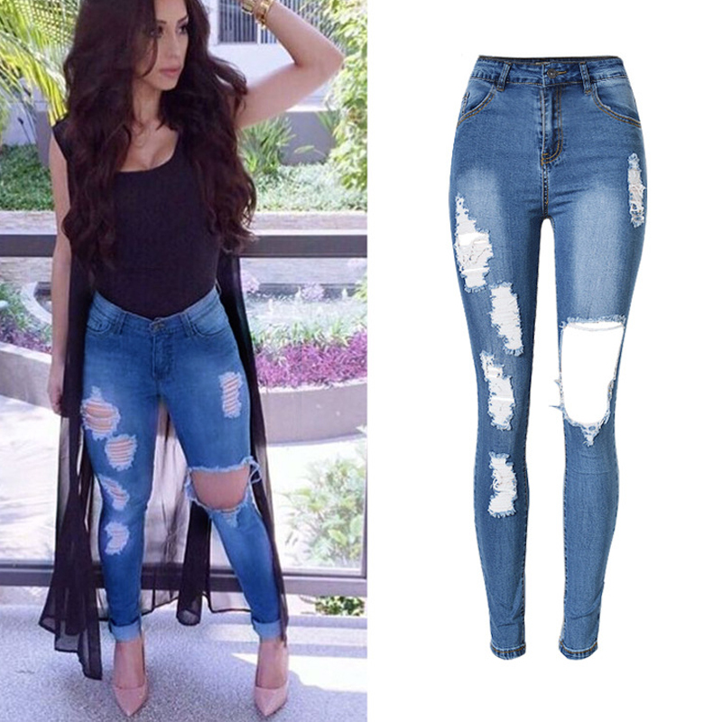 Olrain Chaude Dames Femmes Affligé Déchiré Trou Lavé Denim Crayon Pantalon  Taille Haute Extensible Skinny Jeans 61f6be5a5630