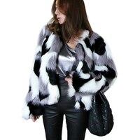 Plus Size S 6XL Women Faux Fox Fur Coat Autumn Winter Thick Warm Fluffy Fur Jacket Korean Fashion Mixed Color Coats Outwear