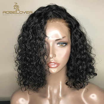 Deep Part Short Curly Human Hair Bob Wigs 150% Wet and Wavy 13*6 Lace Frontal Wigs Brazilian Remy Hair PrePlucked with Baby Hair - DISCOUNT ITEM  48% OFF All Category