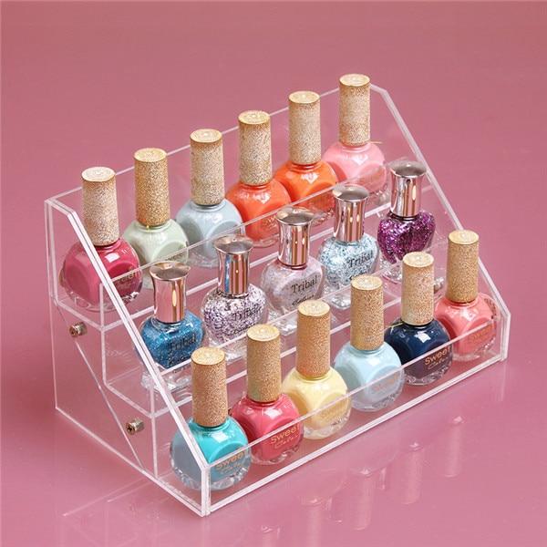 3 layers Nail Polish Cosmetics Display Holder Shelf Makeup Organizer Lipstick Frame Showcase Rack