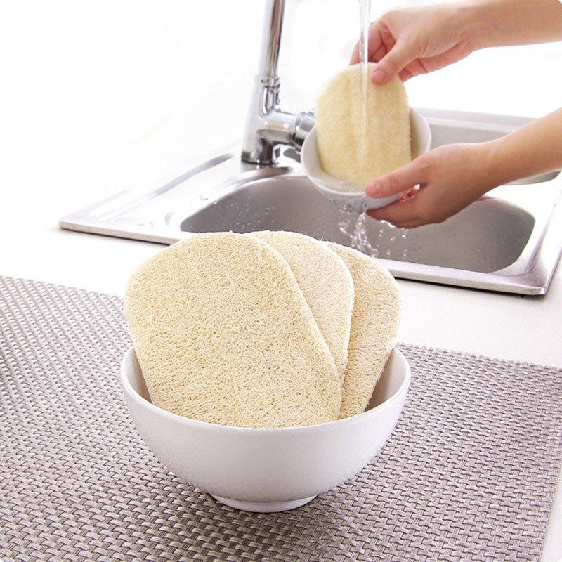 3 sztuk/zestaw Natural Loofah zmywanie naczyń ścierka do szorowania miska Pot łatwe do czyszczenia gąbka ścierająca kuchnia szczotki do czyszczenia ścierka do szorowania